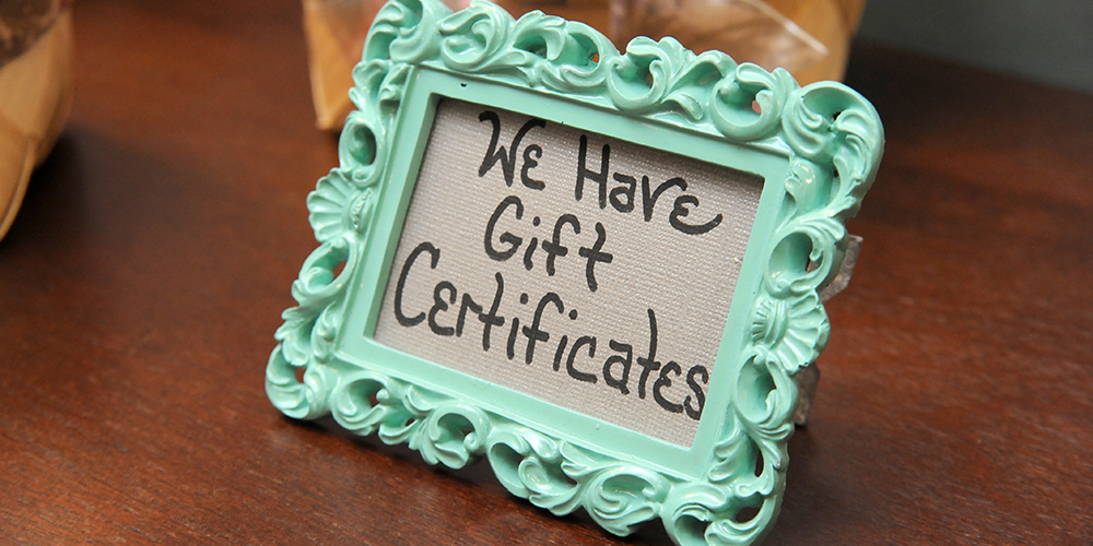 Photo of gift certificate picture frame at Isabella Boutique