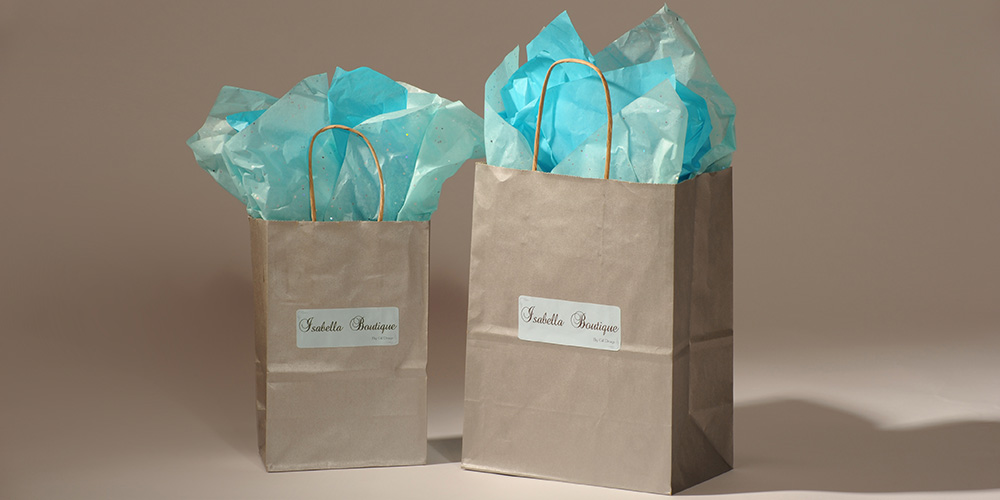 Photo of gift bags at Isabella Boutique. A perfect gift for her.